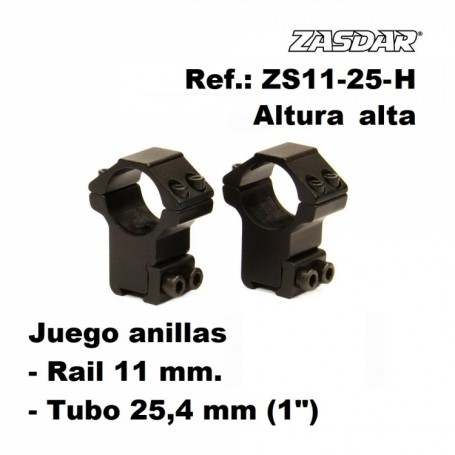 Monturas Zasdar Altura Alta Ø25 mm / rail 9 - 11 mm - Armeria