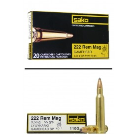 Munición metálica Cal. 222 REM Mag GAMEHEAD - SAKO - 55gr -