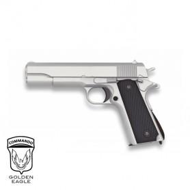 Pistola Golden Eagle 1911 Plata corredera metálica - 6 mm