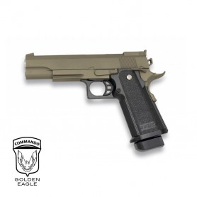 Pistola Golden Eagle Hi-Capa 5.1 TAN corredera metálica - 6 mm
