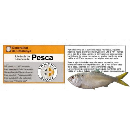 Licencia de Pesca (Cataluña) - Armeria EGARA