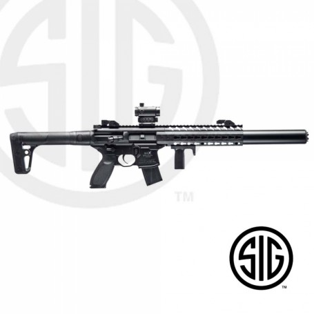 Subfusil Sig Sauer MCX ASP Black + Red Dot Co2 - 4,5 Balines -