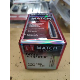 Puntas Hornady Match 6mm 105gr - Armeria EGARA